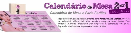 calendario de mesa porta cartoes
